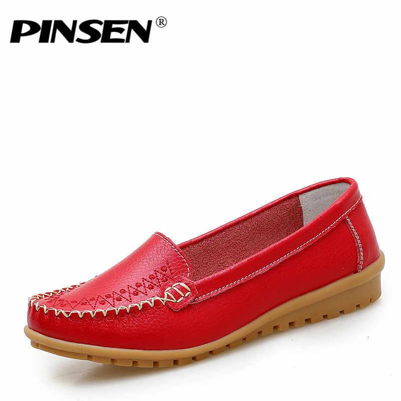 Pinsen 가을 플랫 신발 여성 2020 정품 가죽 여성 신발 플랫 4 색 로퍼 슬립 여성 플랫 신발 moccasins