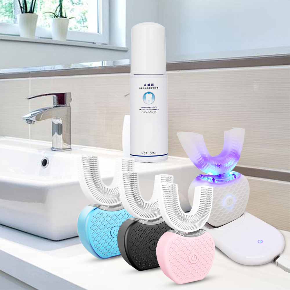 360 Degrees Automatic Electric Sonic Toothbrush Intelligent Toothbrush USB Charge U Shape 4 Mode Teeth Whitening Blue Cold Light