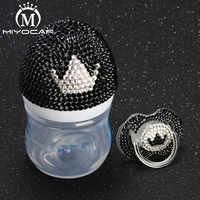 MIYOCAR Красивая ручная работа, безопасная бутылочка для кормления 125 мл с блестящей черно-белой короной, соска для душа, подарок для ребенка
