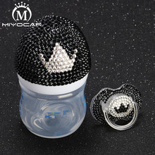 MIYOCAR beautiful set of handmade safe pp Feeding Bottle 125 ml and bling black white crown pacifier for baby shower gift
