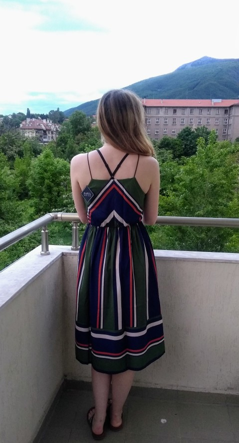 Striped Beach Dress Women Sexy Sleeveless Spaghetti Strap Midi A Line Summer Party Dress Casual Sundress Vestidos photo review