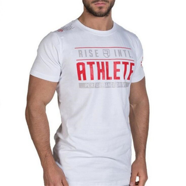 New Rise Bodybuilding and Fitness Mens Short Sleeve T-shirt Gyms Shirt Men Muscle Tights Gasp Fitness T-Shirts