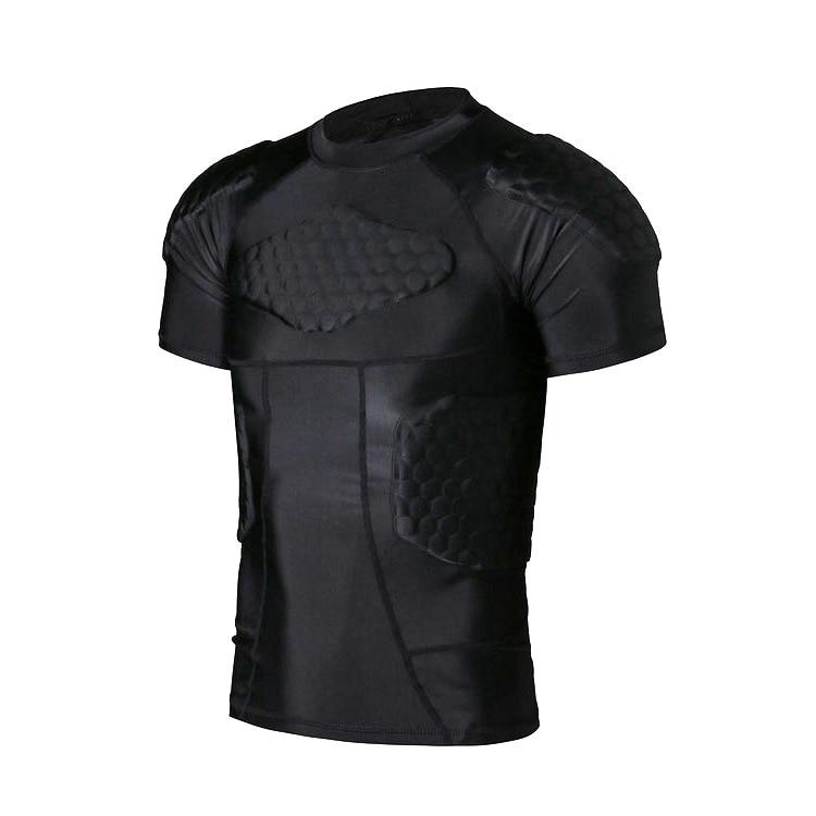US Men Crashproof Padded Shirt Compression Rib Football Jersey T-Shirt Protector