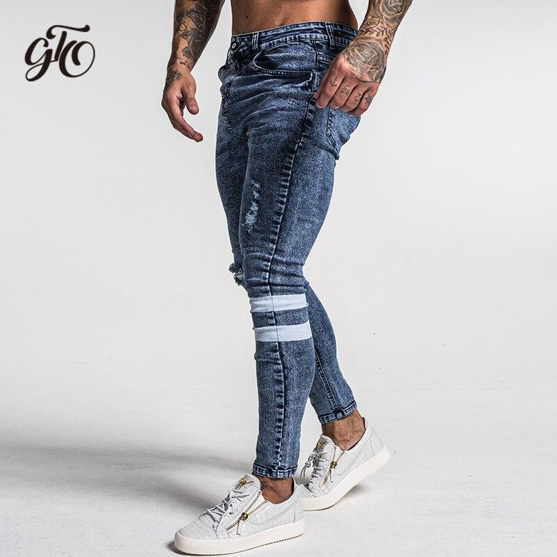 186856f6d82 Gingtto мужские обтягивающие джинсы Рваные зауженные джинсы Большие и  высокие эластичные синие джинсы для мужчин с потертой эластичной талией.