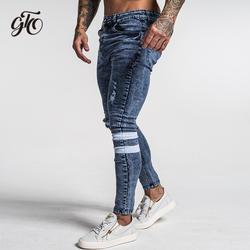 Gingtto 2019 Новый Для мужчин обтягивающие джинсы облегающие скини эластичные синие джинсы больших размеров хлопковый легкий Comfy Хип-хоп белая