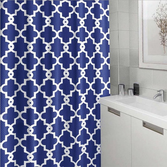 FUNIQUE Blue Geometric Polyester Geometric Printing Crown Flower Shower  Curtain For Bathroom Shower Home Decoration