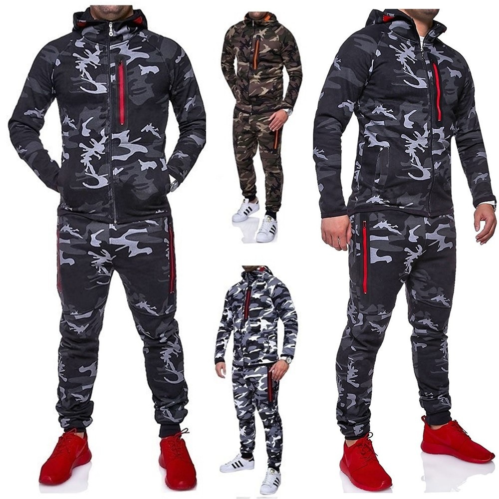 Zogaa Sweat Suits Men Men Sport Set Camouflage Tracksuits Male Hoodie Zipper Sportwear Running Jogger Suit Clothes For Men