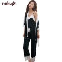 f5311faa11 Fdfklak Sweet Lace Pajamas Women Winter Pyjamas Gold Velvet Warm Autumn  Sleepwear Home Clothes 3 Pieces