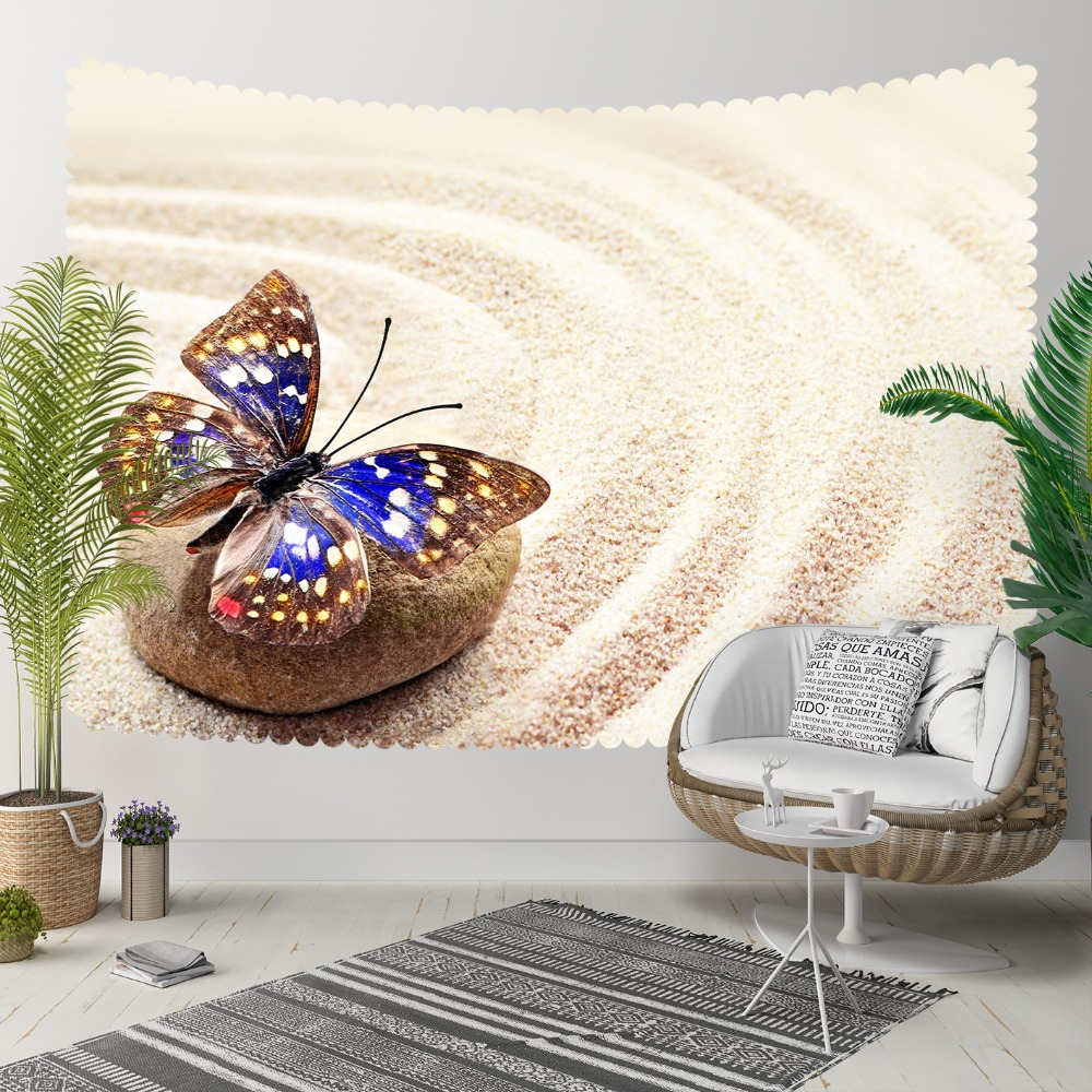Else Yellow Beach Sand Brown Stones Blue Butterfly 3D Print Decorative Hippi Bohemian Wall Hanging Landscape Tapestry Wall Art