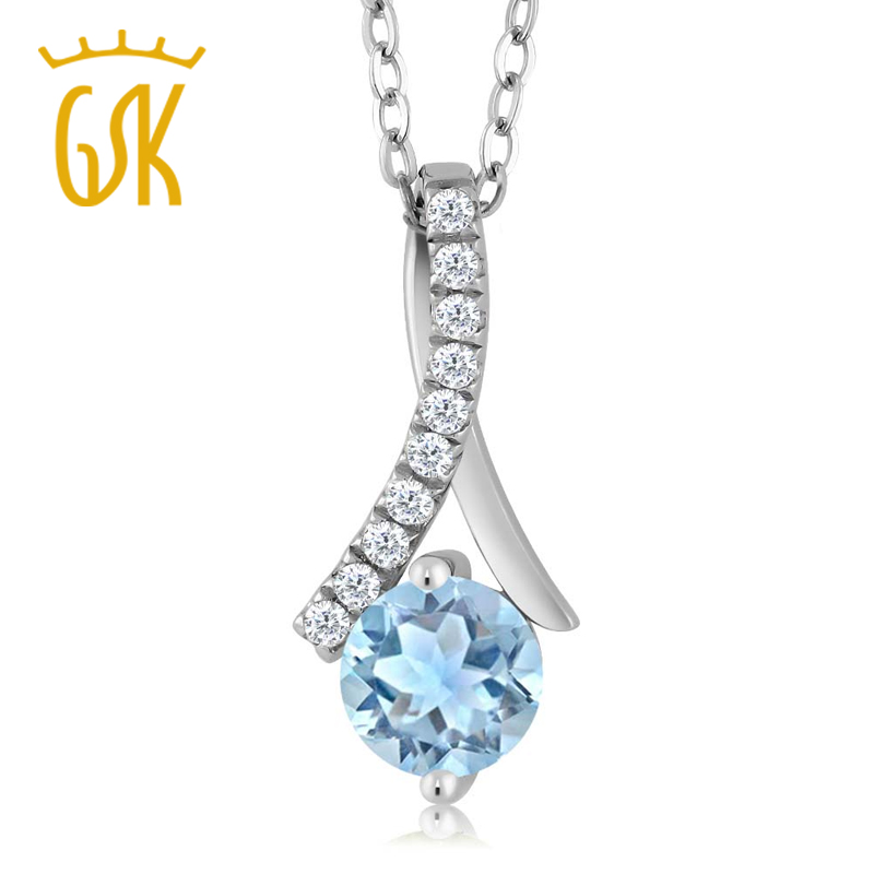 GemStoneKing 0 90 Ct Round Natural Sky Blue Aquamarine 925 Sterling Silver Pendant Necklace For Women