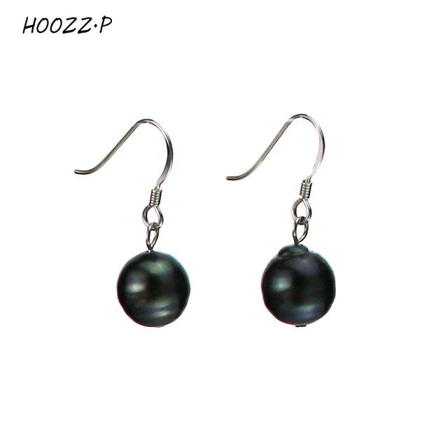 P Aa Quality Tahitian Seawater Pearl Cultured Earring Pair In Black Baroque Pearls