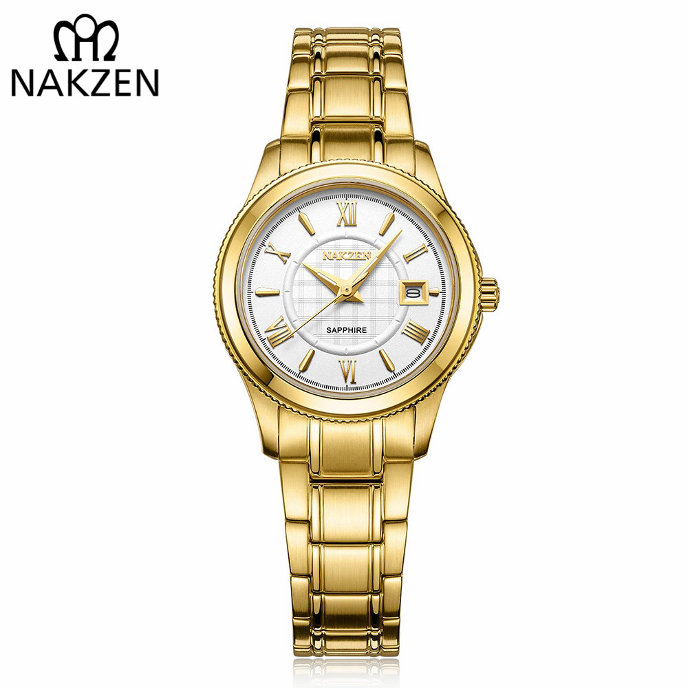 NAKZEN Brand Luxury Gold Bracelet Women Quartz Watch Ladies Fashion Dress Jewelry Gifts Wristwatch For Girls Female Clock 2018 light grey simple long sleeves sweater