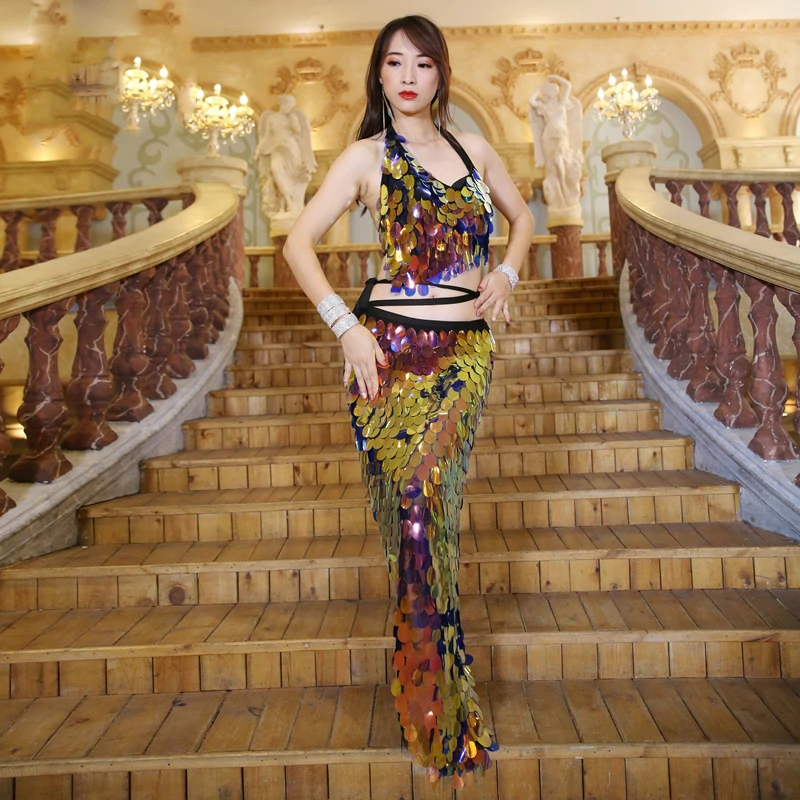 New Women Dance Wear Multicolor Squama Over Skirt Sequins Hip Scarf Scaly Belly Dance Costume Set