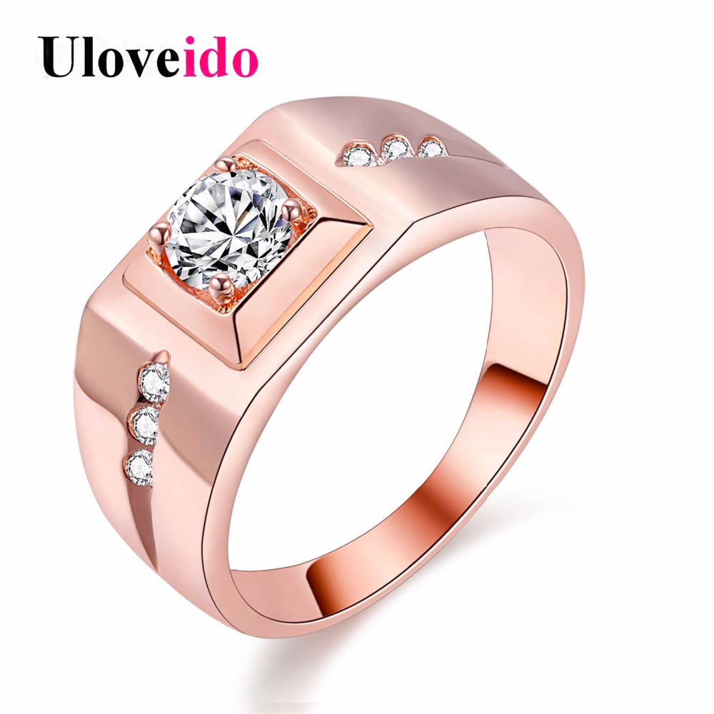 Uloveido Engagement Mens Ring Big Wedding Rings for Men Jewelry Rose Gold Color Women Ring Female Anel Anillos Wholesale J473