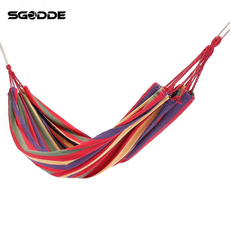 SGODDE Portable Swing Hammock Outdoor Camping Travel Patio Yard Hanging Tree Bed Canvas graco swing by me lx portable 2in1 swing little hoot