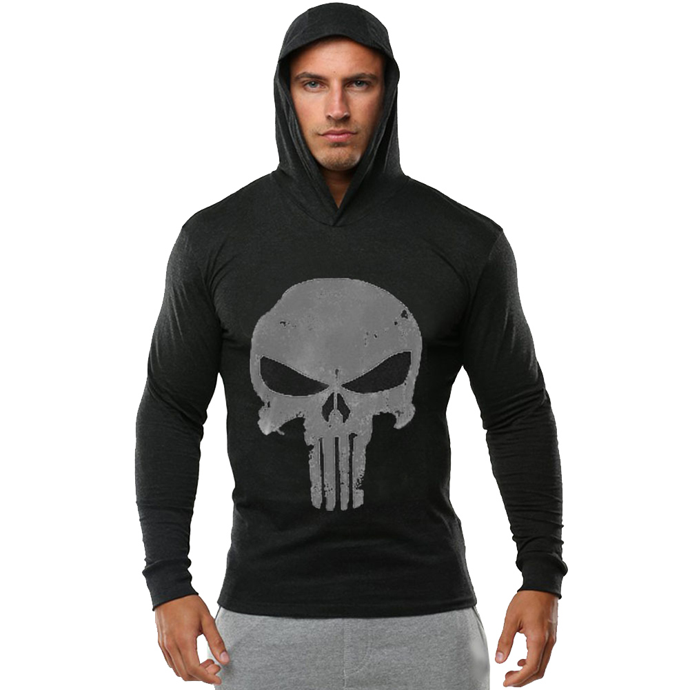 Men Pullovers Skull Design Hooded Sweatshirt Long Sleeve Pullovers Sweatshirt