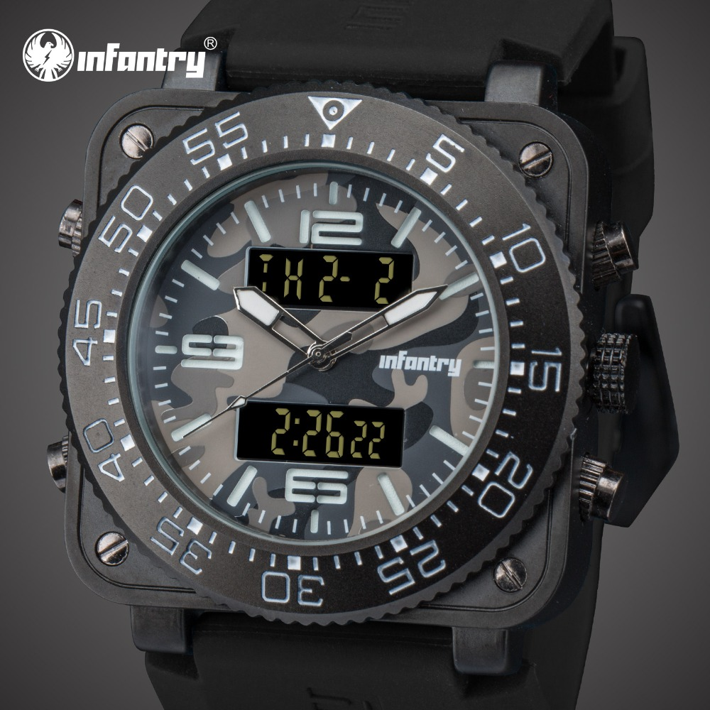 INFANTRY Mens Watches Top Brand Lxuury Analog Digital Military Watch Men Army Square Big Watches for Men Grey Relogio Masculino infantry mens watches top brand analog digital watch men military tactical army watches for men dual time relogio masculin 2018