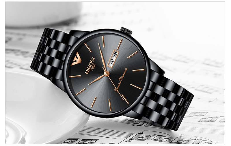 NIBOSI Relogio Masculino Mens Watches Top Brand Luxury Date Week Watch Men Waterproof Black Watch With Gold Montre Homme 2018    (15)