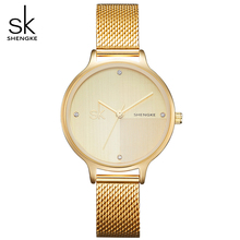 SK Women Fashiong Golden Stainless Steel Mesh Belt Watch Women s Slim Case WristWatches Lady Quartz