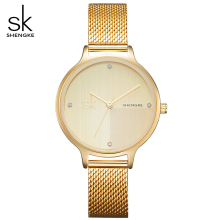 SK Women Fashiong Golden Stainless Steel Mesh Belt Watch Women's Slim Case WristWatches Lady Quartz Watches Relogio Feminino