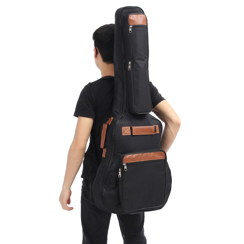 1Pcs Black Oxford Cloth 8MM Thick Guitar Bag with Double Cotton Straps For 41 Folk Guitar Parts & Accessories summer style short sleeve baby gentleman tie rompers love mama papa jumpsuit baby boys girls costume jeans newborn baby clothes