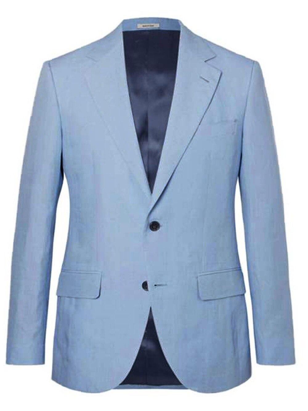 Erkek Kıyafeti'ten Blazerler'de Nefes Hafif Gökyüzü Mavi Keten Blazers Erkekler Custom Made Slim Fit Rahat Rahat Keten Ceket Yaz Serin Ceketler'da  Grup 1