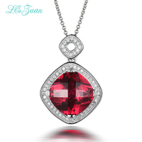 I&zuan 13.83ct Ruby Gemstone Checkerboard Cut Pendant 925 Sterling Silver Necklace Fine Jewelry Luxury Chain Pendants P0057 W01