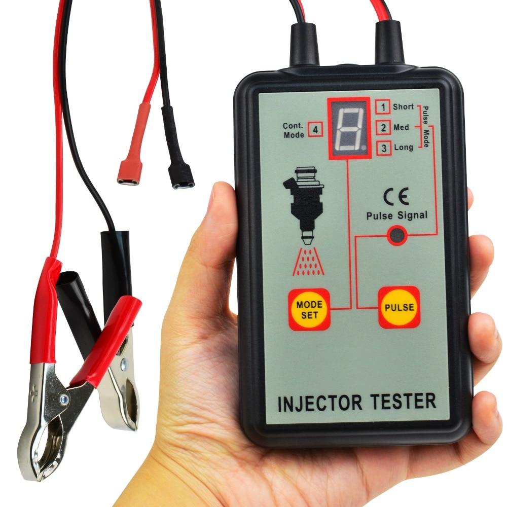 цена на Automotive Fuel Injector Tester, 12V 4 Pulse Modes, Handheld Car Vehicle Fuel Pressure System Diagnostic Scan Testing Tool Gauge