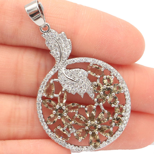New Arrival SheCrown Smoky Topaz White CZ Gift For Girls 925 Silver Pendant 47x27mmNew Arrival SheCrown Smoky Topaz White CZ Gift For Girls 925 Silver Pendant 47x27mm