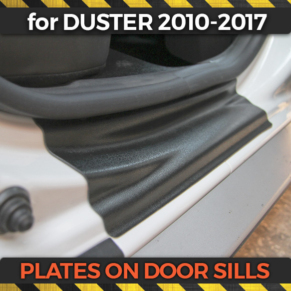 Plate on door sills for Renault Duster 2010 2017 ABS plastic trim accessories protection of scuff guard car styling decoration-in Chromium Styling from Automobiles & Motorcycles