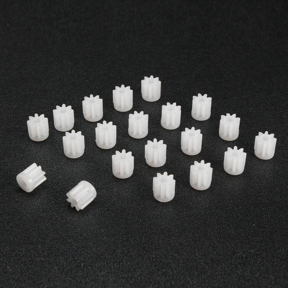 Uxcell 20Pcs/lot 082A 5x5mm Plastic Gear 2mm Hole Diameter White Toy Accessories With 8 Teeth For DIY Car Robot Motor
