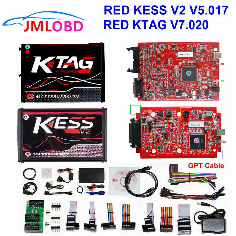 Online RED Kess v2 master KESS v2 V5.017 No Token KTAG V7.020 OBD2 Manager Tuning Kit kess ktag ECU Programmer BDM adapter dhl free shipping kess v2 obd2 tuning kit v2 10 ecu kess v2 master no token limitation 2 years warranty