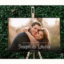 Photo Printable Wedding Welcome Sign Picture Printed Wedding Sign Canvas Personalized Entrance SIgn Stand not Included(China)