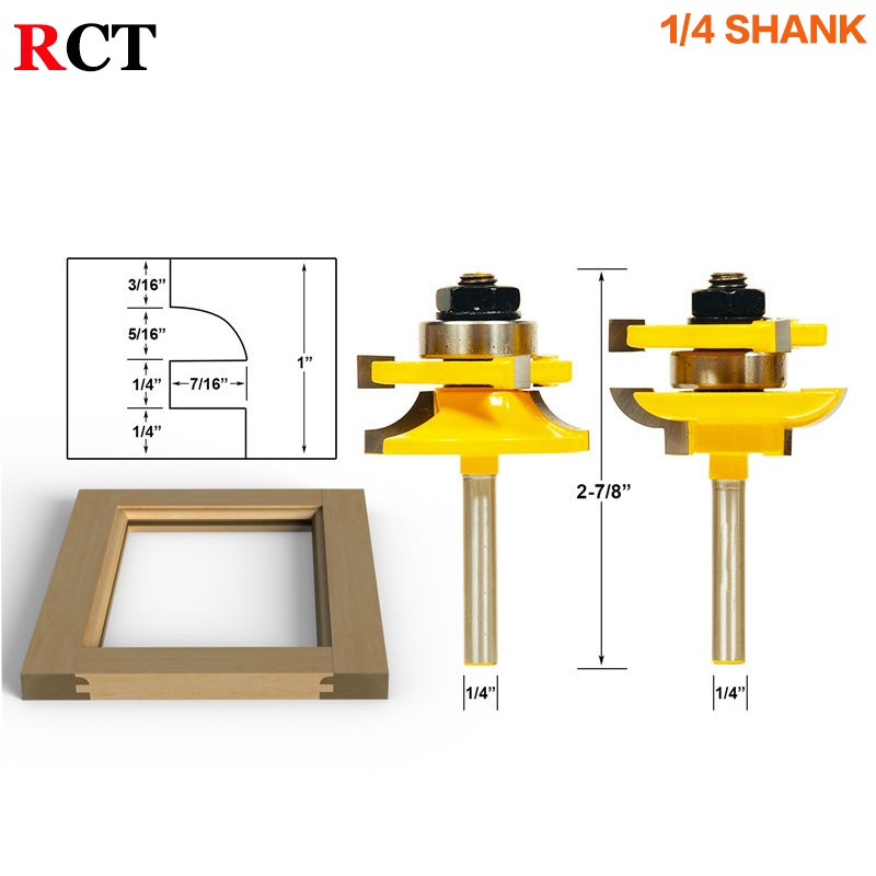 Rail and Stile Router Bits - 2 Bit Round Over - 1/4 Shank door knife Woodworking cutter Tenon Cutter for Woodworking Tools