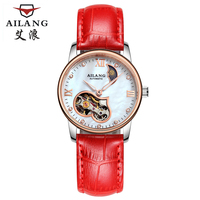 Mechanical Watches Women red Starking Skeletal relogios Luxury Famous Brand of Genuine leather strap Watch Sapphire Bracelet