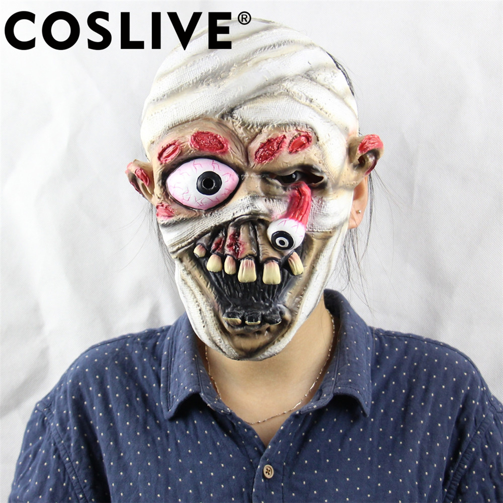 Coslive Christmas Clearance Cheap Mask Explosive Eye Drop Horror Ghost Latex Mask Holiday Cosplay Costume Props For Adult