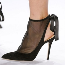 Women Sexy Pumps Shoes Black Suede Mesh Straps Slingback Heels Pumps Women Pointed Toe Thin Heels Stilettos Catwalk Shoes Sping недорого