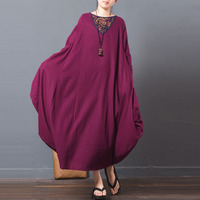 ZANZEA Women Floral Printed Splice Shirt Dress Kaftan Retro Ladies Crewneck Casual Loose Long Maxi Dress