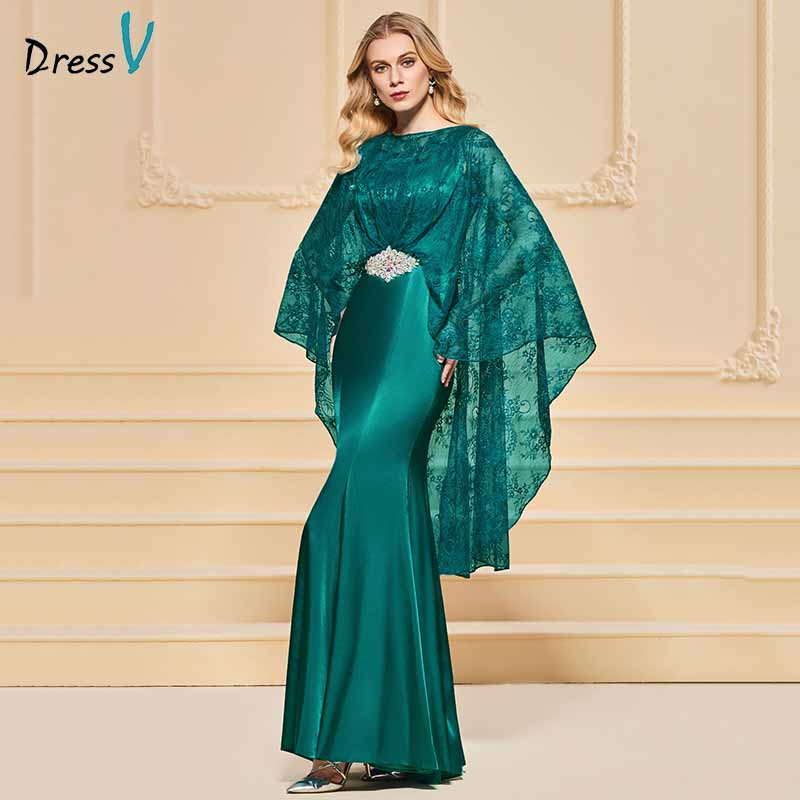 Dressv evening dress mermaid elegant long sleeves beading floor-length wedding party formal dress trumpet lace evening dresses