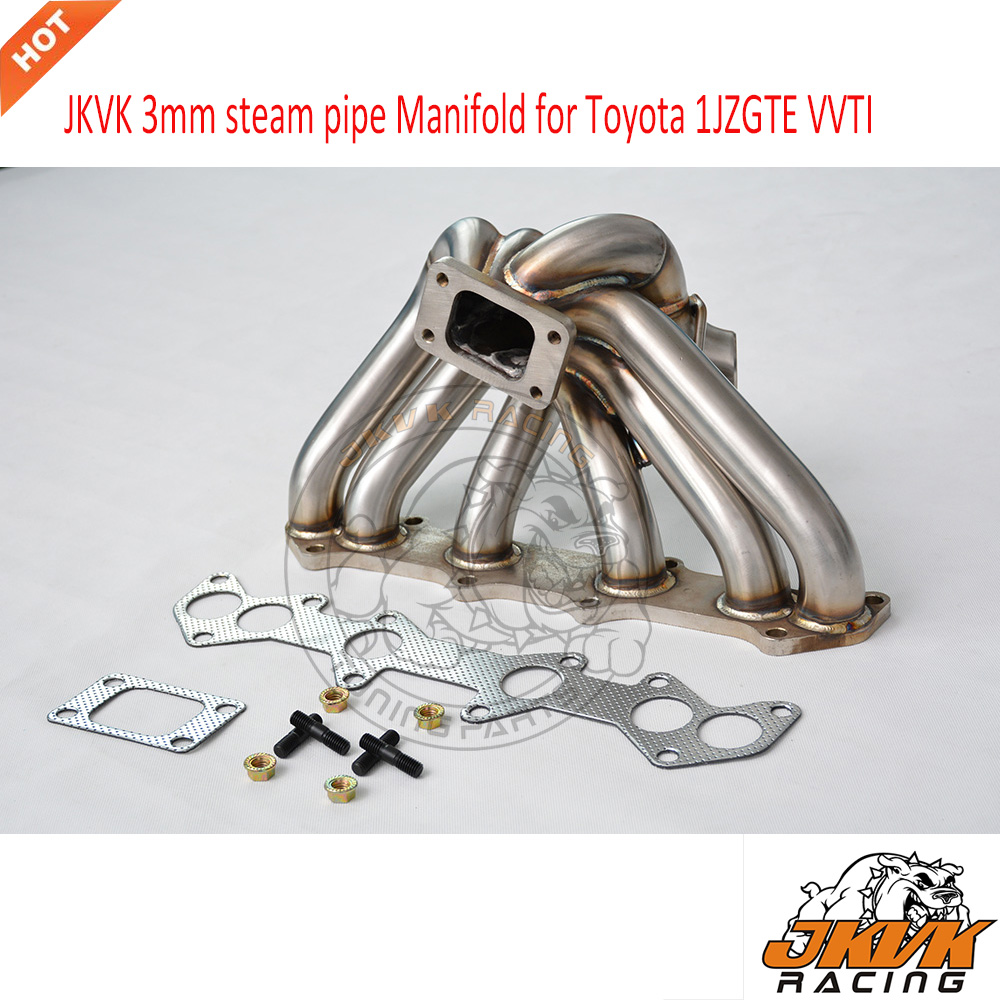 JKVK RACEING 3mm Steam Pipe T3 Turbo Manifold for Toy ot 1JZGTE 1JZ VVTi