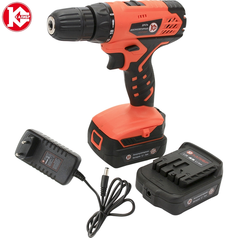 Cordless drill with Lithium battery Kalibr DA-12/2+ (max 12B, 2 Li-Ion Battery, 2 speed) screw driver, power tools mini drill 2pcs lot new original 18650 3 6v 2500mah li lon rechargeable battery he4 max 20a 35a discharge batteries free shipping