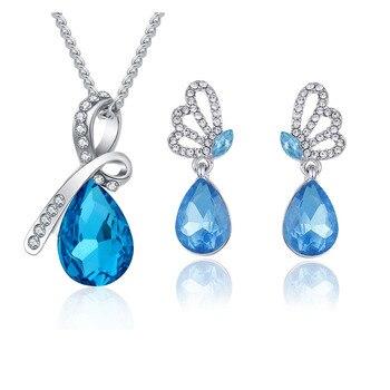 New Wholesale Austrian Crystal Jewelry Sets Water Drop Pendant Necklace Stud Earring Bracelet Silver Plated Jewellery Women 5