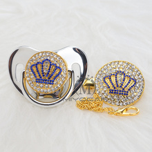 MIYOCAR Gold beautiful GOLD bling blue crown pacifier and clip set BPA free dummy unique design ABCB-9-1