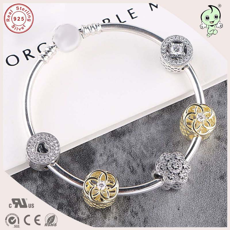 Popular Famous Brand Silver Jewelry Gold Flower Charm Series 925 Sterling Silver bangle popular good quality gift silver jewelry bangle pink love heart famous crystals 925 pure silver bangle