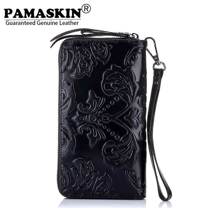 PAMASKIN Brand Cow Leather Long Retro Flower Embossed 2018 Newest Women Organizer Wallets Vintage Ladies Zipper Coin Purses Hot