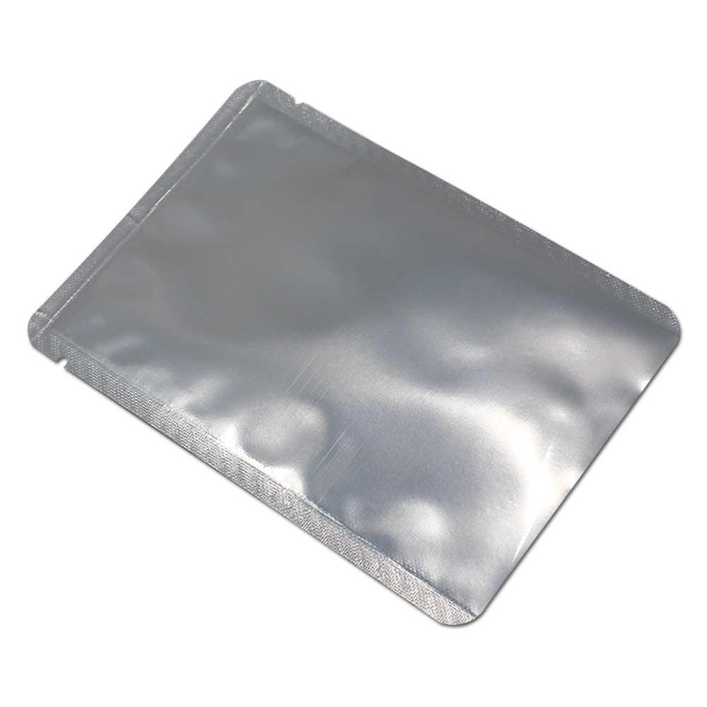 50 pçs/lote Abertura Saco De Alumínio Puro Calor Selável Mylar Folha de Saco De Embalagem A Vácuo De Plástico Transparente Sacos de Embalagem de Alimentos Pacote Bolsas