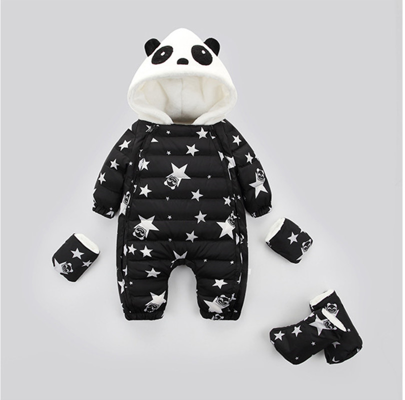 High Quality Thick Baby Winter 90% White Duck Down Jumpsuit Warm Infant Baby Hooded Outwear Boys Girls Cartoon Panda Clothes christmas deer baby rompers duck down winter overalls thick warm jumpsuit 2017 newborn clothes infant boys girls outwear