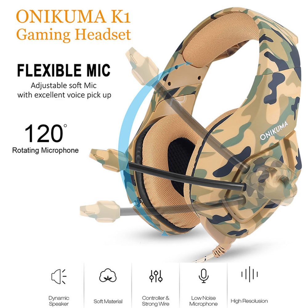 ONIKUMA K1 Casque Camouflage PS4 Headset with Mic Stereo Gaming Headphones for PC Cell Phone New Xbox One Laptop (10)
