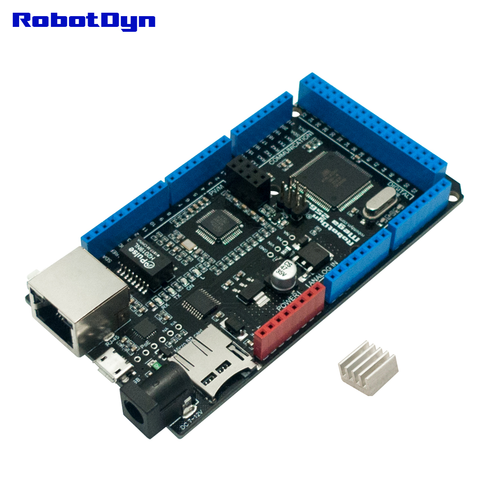 FRETE GRÁTIS MEGA 2560 ETH R3 com ATmega2560 e Ethernet W5500, Micro-SD, USB-UART CP2104, soquete para Wi-Fi ESP-01