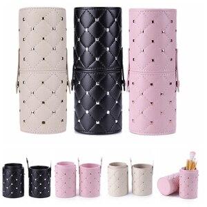 Image 1 - Fashion Makeup Brushes Holder Case PU Leather Travel Pen Holder Storage Cosmetic Brush Bag Brushes Organizer Make Up Tools